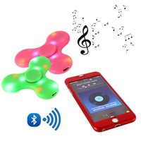 Wholesale fingers music - Mini Bluetooth Music Fidget Spinner LED Light Sensory Fidgets Autism ADHD EDC Spinners Hand Anti Stress Funny Toys 4 Colors