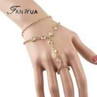 Wholesale Create Bracelets - Pulseira Ouro Slave Bracelet and Bangles Created Crystal Bijoux For Women Latest Fashion Design Double Layer Bracelet