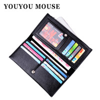 Wholesale mouse note holder - Wholesale- YOUYOU MOUSE Fashion Litchi Pattern Women Wallets Soft PU Leather Money Bag Wallet Female Clutch Long Zip Coin Purse Card Holder