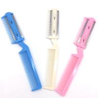 saç ince bıçak toptan satış-Çift taraflı bıçak tarak kesmek Bıçak kesmek Saç patlama oynamak için BoQi ince Pet tarak