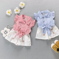 Summer organic shirts wholesale - piece summer girl striped short sleeved shirt T shirt shorts suit Korean casual two piece suit