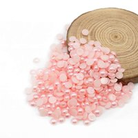 Wholesale Cabochons Beads - ABS Pearl Rhinestone Cabochons, Flatback Decoden Cabochons, Cellphone Deco Flatback Pearl Beads Pink 4mm, 6mm,8mm, 10mm