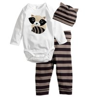 Wholesale Cartoon Images Pants - Free shipping Baby clothing cotton cartoon images stripe Dot Baby Romper Triangle climbing clothes + hat + pants 3 sets