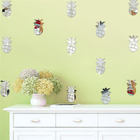 Wholesale 12Pcs Acrylic Removable Mirror Wall Stickers Kids Room Decorative Wall Sticker DIY Craft Pineapple Stickers Home Decoration