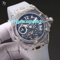Wholesale Watch Straps Covers - Transparent sapphire crystal case automatic watch white rubber strap see through glass back cover men's wristwatch sport model brand watch