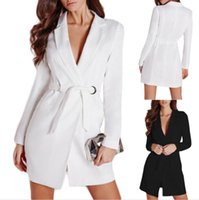 Wholesale Womens Work Suits - Blazer Feminino Ladies Slim Belted Deep V Neck Suit Dress Quality Long Sleeve Suit jacket Womens Blazer For Work White