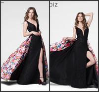Wholesale Tarik Dress Red - 2018 Black Lace Flora Printed Prom Dress Tarik New Arrival Formal Evening dresses Occasion Dresses Split Party Dresses 50024