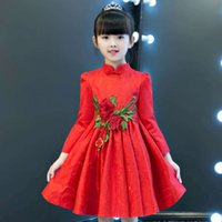 Wholesale Tutu Stand Wholesale - Children Ball Gown Girls lace stereo roses Chinese knot pleated dress Kids embroidery stand-up collar TUTU dress Girls princess dress C1902