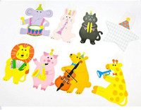 Wholesale Happy Birthday Flags - 15Pcs Pack 2M Happy Family Baby Shower Cartoon Animal Garland Striped Paper Flags Banner Decor Birthday Party Supplies For kids