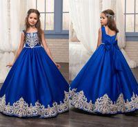 Wholesale Elegant Children Dresses - 2017 Long Royal Blue Lace Vintage Wedding Flower Girl Dresses with Bow Sash Elegant Kids Communion Evening Gowns for Children Little Girls