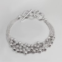 Multilayer Linie Polnisch Matt Bead Ball Armband Toggle Glas Boho Stil 925 Sterling Silber Überzogenes Kleines Geschenk Für Frauen Mädchen Mutter Tochter