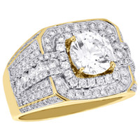 Wholesale White Gold Round Ring Mountings - 10K Yellow Gold Men's Round Diamond Pinky Ring Solitaire Semi Mount Band 1.82 CT