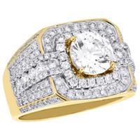 Wholesale Diamond Semi Mount Gold - 10K Yellow Gold Men's Round Diamond Pinky Ring Solitaire Semi Mount Band 1.82 CT