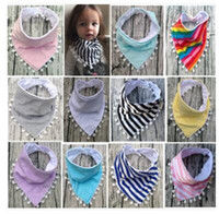 Wholesale Solid Color Baby Bibs - Baby Tassel Bibs Stripe Pompon Infant Burp Cloths Toddler Solid Color Cotton Cartoon Newborn Printed Saliva Towel Triangle Head Scarf J491