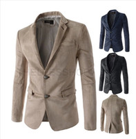 Wholesale Male Straight Jacket - Men's Suede Blazer Spring Casual Slim Fit Thin Jackets Double Button Blazers Male Dress Suit Outwear Wedding Business Coat