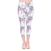 Wholesale Stretch Knitted - Women Capri Leggings White Unicorn 3D Graphic Print Lady Stretch Capri Pants Girl Cropped Trousers Spring Summer Autumn Seven Socks (J45797)