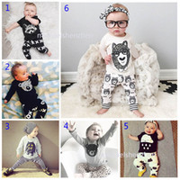 Wholesale Kids Spring Summer - 30 Style Baby INS fox stripe letter Suits Kids Toddler Infant Casual Short long sleeve T-shirt +trousers 2pcs sets pajamas newborn clothes B