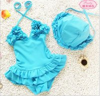Wholesale Gauze Swimsuits - 2017 Princess Gauze Lovely Baby Girls One-piece Swimwear Baby Siamese Skirt Swimsuit With Cap For 1-11 years 70-140cm