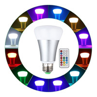 Wholesale Led Medium Base - 10W A19 Remote Controlled Color Changing LED Light Bulbs RGB +Daylihgt White 16 Color Choice, E26 Medium Screw Base