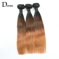 24 inç sakallı insan saçı toptan satış-Ombre Saç Düz İnsan Saç Örgüleri Üç Ton 1B / 4/30 7A Ombre Brezilyalı Perulu Malezya Hint Bakire Remy Insan Saç Örgü Demetleri