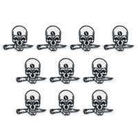 Wholesale Sew Skull Patches - 10pcs Punk Skull bit knife badges patches for clothing iron embroidered patch applique iron on patches sewing accessories
