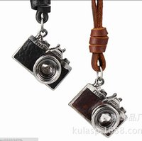 Wholesale Small Camera Necklaces - 2016 New Retro Art Jewelry Necklace Antique Small Camera Necklace Sweater Chain Leather Rope Alloy Pendant Necklace