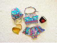 Wholesale Bikini Girls Hats - Baby Girls Swimsuit Kids Retro Pattern Bikini Swimwear Baby Girls Floral Swimsuit Toddler Hat + Top + Pants 3pcs Set