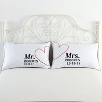 Wholesale Cotton Anniversary Gift - 74x48cm White Bedding Couples Pillow Case Cushion Cover Set Wifey Hubby Couples Pillow Covers Gift for Funny Wedding Valentines Anniversary