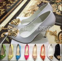 Wholesale blue head dress for sale - Group buy 2016 Nerw Fashion Spring Pointed Toe Gold Ladies Head High Heel Shoes Black White Patent Leather Dress Shoes Women s Pumps Size