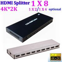 Wholesale Splitter Repeater - HDMI Splitter 1X8 port distributes Hub Repeater Amplifier v1.4 3D 1080p v1.4 3D 1080p HDMI switch suport 4K*2K HDTV *25set lot
