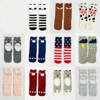Wholesale Toddler Girl Knee Socks - Cute Toddler Baby Knee Length Cartoon Socks Fox Panda Socks Little girls Sweet Socks 30pairs lot for 0-6 years old kids