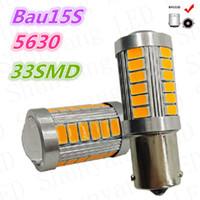 py21w birne großhandel-4X 1156 BAU15S PY21W Led Auto Birnen Gelb Gelb 33SMD 5730 5630 High Power LED Blinker Parkplatz Lampe Auto-styling