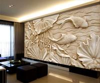 sculptures en bois achat en gros de-Fake Wood Carvings Relief Peintures Nouveau Classique Chinois Grande Fresque 3D Stéréo Fonds d'écran Salon TV Fond Mur Lotus Poisson