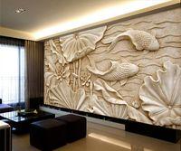 chinesisches zimmer tapete groihandel-Gefälschte Holzschnitzereien Relief Gemälde Neue Klassische Chinesische Große Fresko 3D Stereo Tapeten Wohnzimmer TV Hintergrund Wand Lotus Fisch