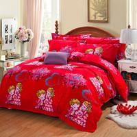 Wholesale Luxury Velvet Bedding - red luxury wedding style Winter soft velvet bedding set super warm bed sheet duvet cover pillowcase soft bedding home textile