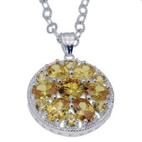 "Wholesale Morganite Pendant Silver - 925 Sterling Silver Pendants Necklace Citrine Morganite Garnet Hermosa Gemstone Rhinestone Women Jewelry 1 1 2"" INCH"