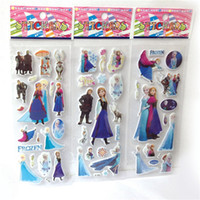 Wholesale Educational Wall Stickers - DHL free 3D Frozen Stickers 6.75 * 16.9cm DHL Free Elsa&Anna Stickers Cartoon Children Small Stickers Toys Kids Room Bedroom Walls JC44