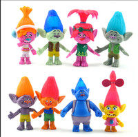 Wholesale 8 Style Sets Trolls Poppy Branch The Good Luck Trolls action figures new Children cartoon PVC minifigures toys inch b1056