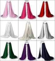 Wholesale Blue Winter Cape - 2017 Autumn Winter Victorian Style Bridal Capes Navy Blue IVORY Red Satin Faux Fur Trim Wedding Cloaks CPA974
