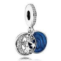 Wholesale Vintage Sterling Enamel Pendant - S925 Sterling Silver Vintage Night Sky Dangle Charm Bead with Blue Enamel Fit European Pandora Jewelry Bracelet Necklaces & Pendant
