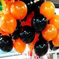 Wholesale Wholesale Halloween Latex Props - 100 Pcs 2.2g 12 inch Latex Black & Orange Balloon Wedding Favor Party Decorations Halloween balloons Party Decoration Layout Props