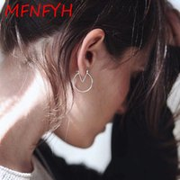Wholesale Unique Letter V - MFNFYH Unique Design Letters V Shape Metal Hoop Earrings For Women Gold Silver Round Circle Earings Fashion Jewelry Gift Brincos