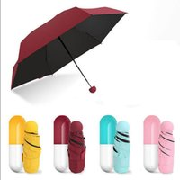 Wholesale Capsule Case Umbrella Ultra Light Mini Folding Umbrella Compact Pocket Umbrella Windproof Rain Sun Umbrellas OOA2355