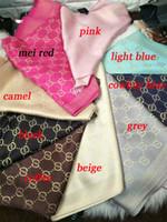 Wholesale Double Infinity - Top Qualtiy silk cotton Winter Scarf Women Double G Brand Big Size 180x70cm Scarves Pashmina Infinity Scarf Women Shaw 10 colors chose