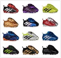 Wholesale Soccer Shoe Yellow - New Arrivals Soccer Shoes ACE 16+ Purecontrol FG AG Football Boots Outdoor Cleats High Top Sports Boot Cleats Without Shoelaces Size 6.5-12