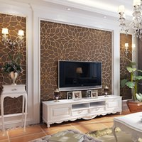 Wholesale Flower Wallpapers High Quality - High Quality 3D Stereo Flower Pattern Non-woven Flocking Wallpaper Modern Living Room Bedroom TV Background Decor Wall Paper 10m