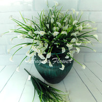 Wholesale Silk Mini Flower Heads - Wholesale- New beautiful 25 heads bouquet mini artificial calla with leaf silk fake lily Aquatic plants home room decoration flower