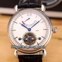Super Clone Brand Luxury Patrimony Power Reserve Tourbillon White Dial Mens Watch Prata Bezel Correia de couro Cheap New Gents Watch Relógios