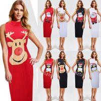 Wholesale Women Santa S Clothes - Christmas Women Dresses Lady Casual Party Runway Dresses Slim Skirt Christmas Santa Claus Reindeer Snowflake Penguin Cartoon Printed Clothes