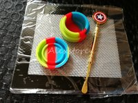Wholesale silicone round pads - Silicone Wax Kit Set with square sheets pads mat 7ml round oil container Captain America dabber tool for dry herb jars dab